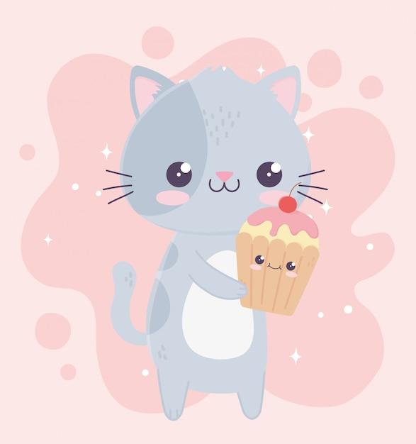 Simpatico personaggio dei cartoni animati kawaii cupcake e gatto Vettore Premium