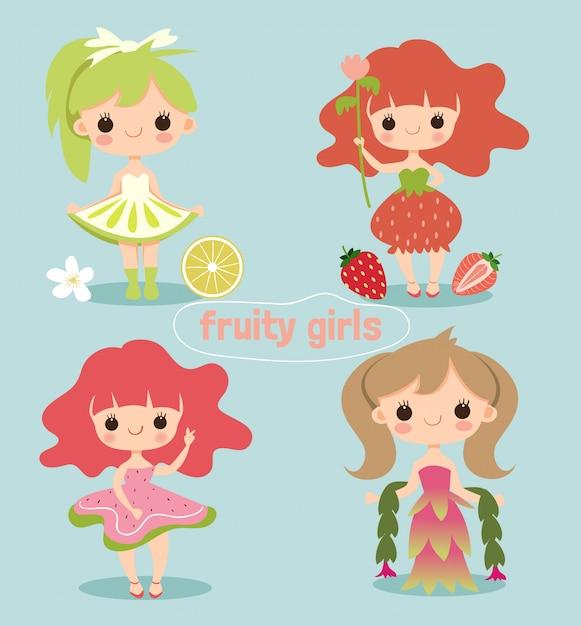 Simpatico personaggio dei cartoni animati ragazza fruttato Vettore Premium