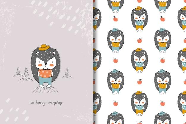 Simpatico personaggio dei cartoni animati riccio. carta animale disegnata a mano, senza cuciture Vettore Premium