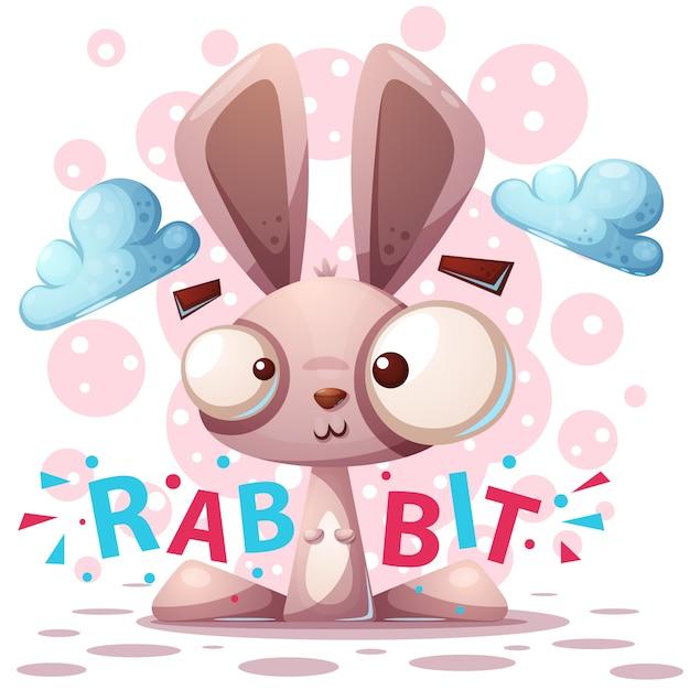 Simpatico personaggio di coniglio Vettore Premium