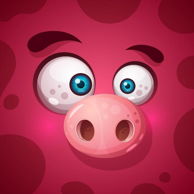 Simpatico personaggio di maiale mostruoso Vettore Premium