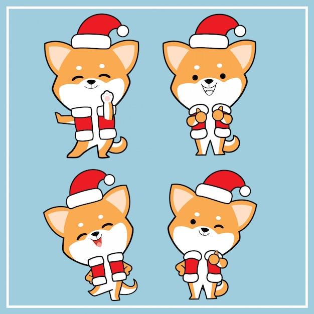 Simpatico personaggio disegnato a mano kawaii shiba inu cane con collezione di cappello di natale Vettore Premium