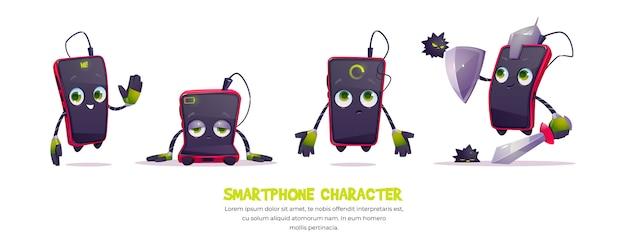 Simpatico personaggio smartphone in diverse pose Vettore gratuito