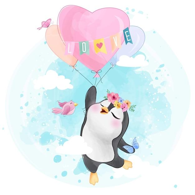 Simpatico pinguino con palloncino a forma di cuore Vettore Premium