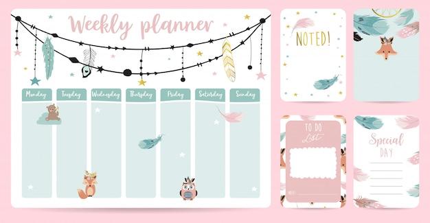Simpatico planner settimanale in stile boho Vettore Premium
