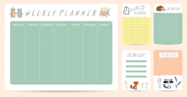 Simpatico planner settimanale per bambino con orso Vettore Premium