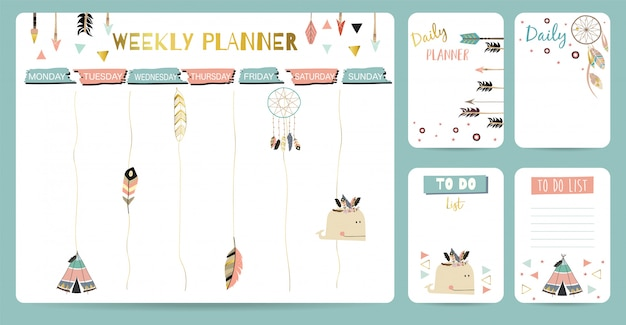 Simpatico planner settimanale per bambino Vettore Premium