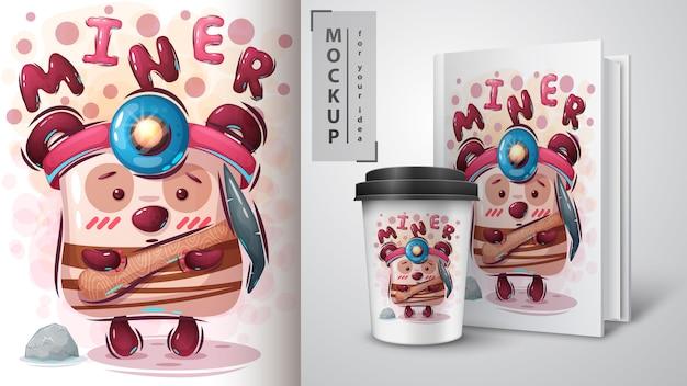 Simpatico poster da minatore e merchandising Vettore Premium