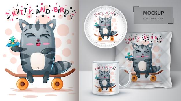 Simpatico poster di gatto e uccello e merchandising Vettore Premium