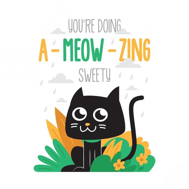 Simpatico poster di gatto motivazionale Vettore Premium