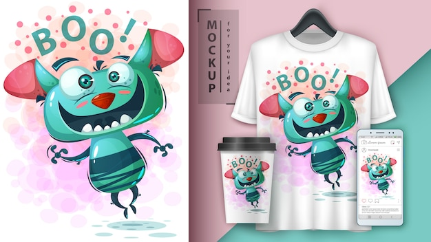 Simpatico poster e merchandising di mostri Vettore Premium