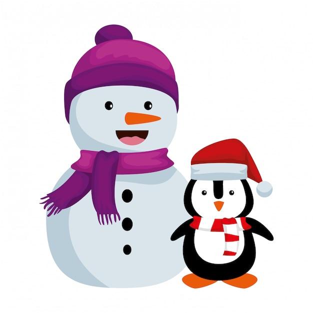 Simpatico pupazzo di neve con personaggi natalizi pinguino Vettore Premium