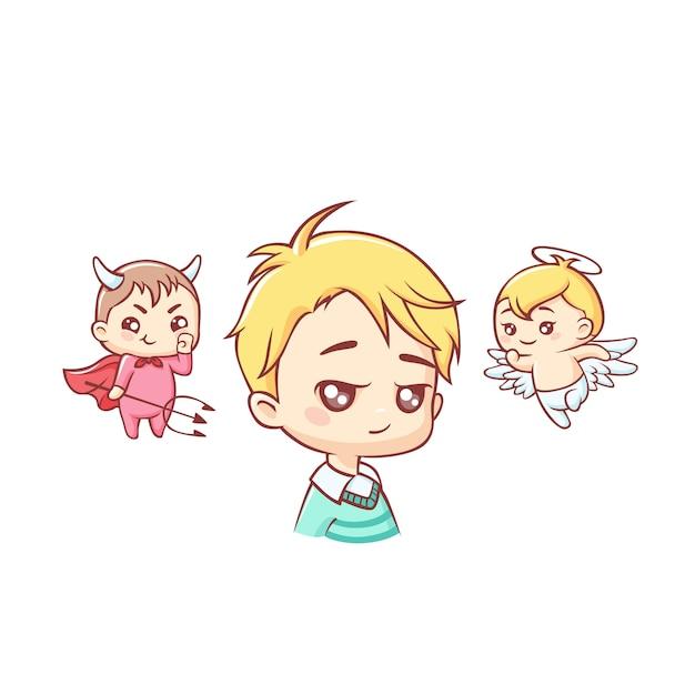 Simpatico ragazzino con angelo e demone sopra la sua testa Vettore Premium
