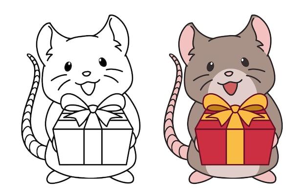 Simpatico ratto che indossa il cappello di babbo natale dà un regalo. contorno e immagini colorate. illustrazione vettoriale disegnato a mano Vettore Premium