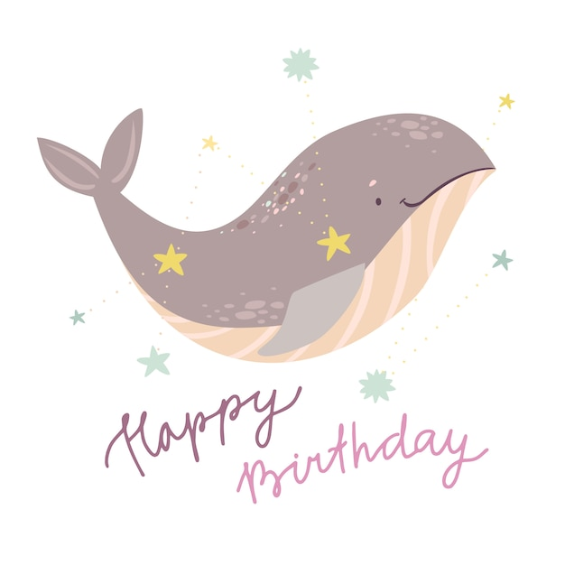Simpatico saluto di compleanno della balena Vettore gratuito