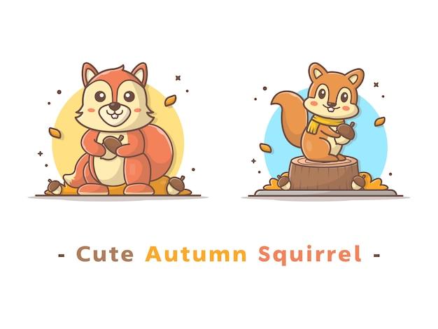 Simpatico scoiattolo autunnale Vettore Premium