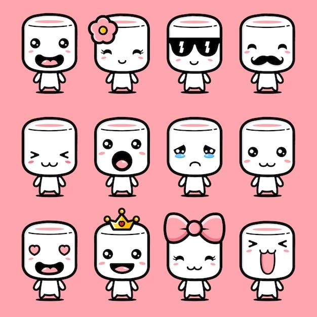 Simpatico set di design mascotte marshmallow Vettore Premium