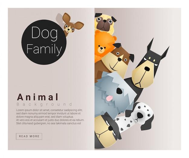 Simpatico sfondo di famiglia animale con cani Vettore Premium