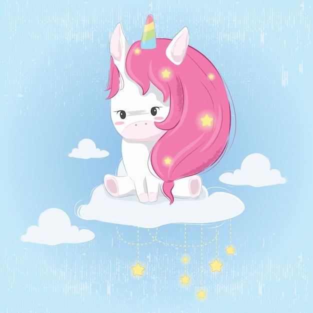 Simpatico unicorno sul cloud Vettore Premium