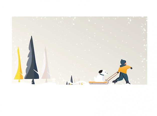 Simpatico vettore minimalista della stagione invernale. paesaggio invernale innevato panico con bambino felice trascina un cane sulla slitta. albero di pino e neve bianca con fogliame giallo e foresta decidua Vettore Premium