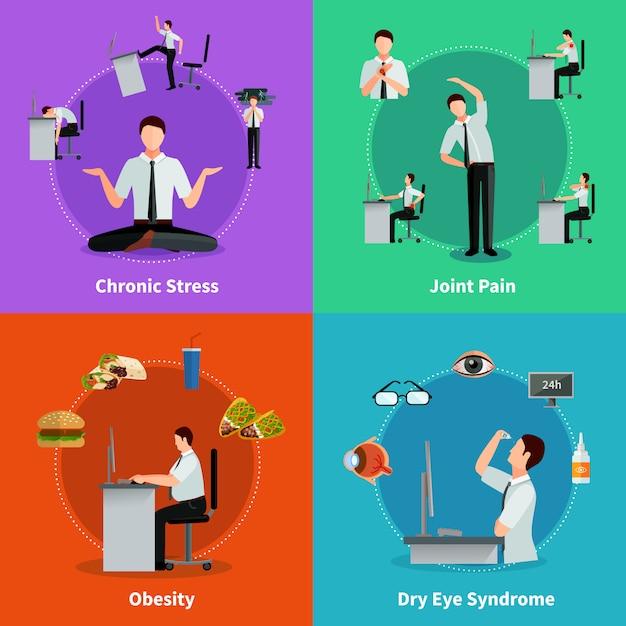 Sindrome da ufficio 2x2 concetto piatto insieme di malattie come risultati del lavoro sedentario Vettore gratuito