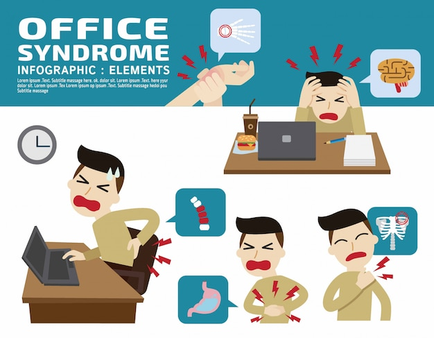 Sindrome di office. Vettore Premium