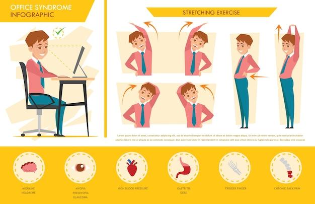 Sindrome ufficio uomo infografica e stretching esercizio Vettore Premium