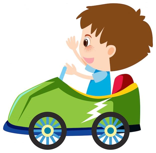 Singolo personaggio del ragazzo in auto verde Vettore Premium