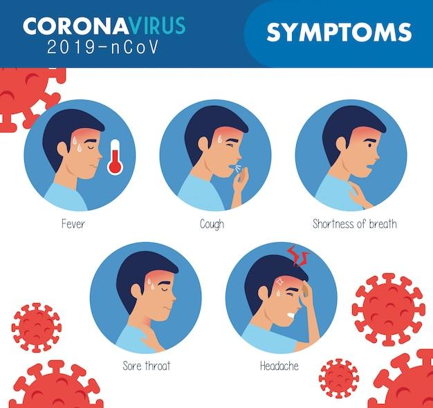 Sintomi di coronavirus 2019 ncov con particelle Vettore gratuito