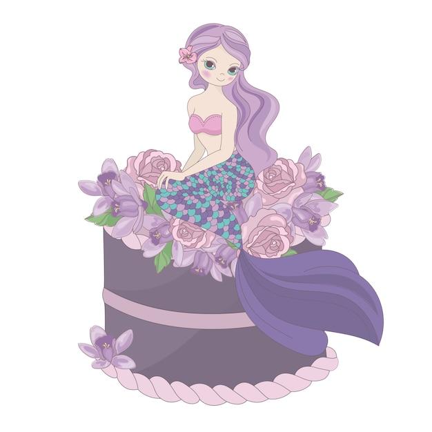 Sirena compleanno floreale dolce principessa Vettore Premium