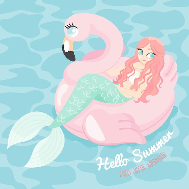 Sirena di personaggio dei cartoni animati con piscina galleggiante flamingo Vettore Premium
