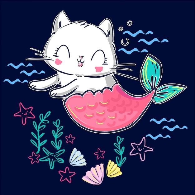 Sirena e coperture disegnate a mano del gattino. fantasy simpatico gatto. Vettore Premium