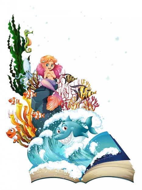 Sirena e oceano Vettore gratuito
