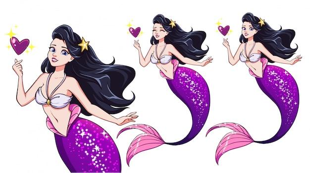 Sirena graziosa del fumetto che tiene cuore magico. capelli neri e coda di pesce viola lucido. Vettore Premium