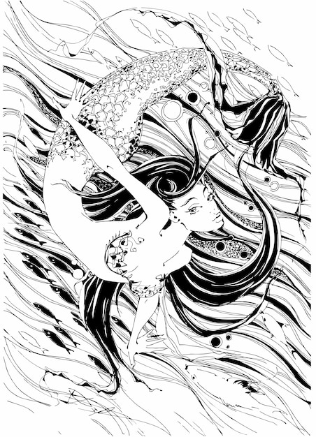 Sirena. il racconto è un mito. mondo sott'acqua. Vettore Premium