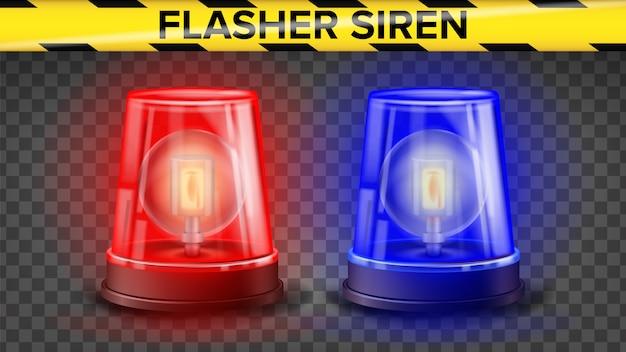 Sirena lampeggiante rossa e blu Vettore Premium