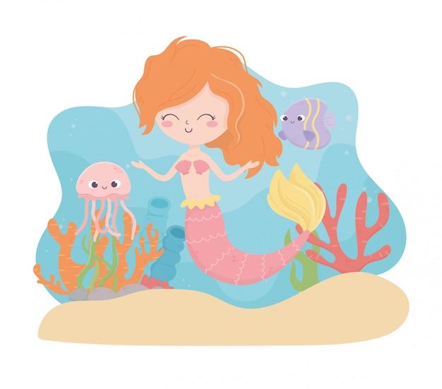Sirena medusa pesce corallo sabbia cartoon sotto l'illustrazione vettoriale mare Vettore Premium
