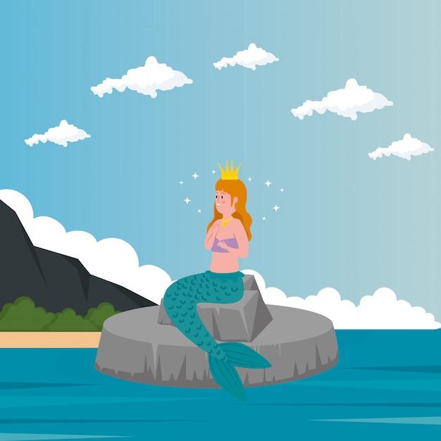 Sirena seduta in pietra con mare Vettore gratuito