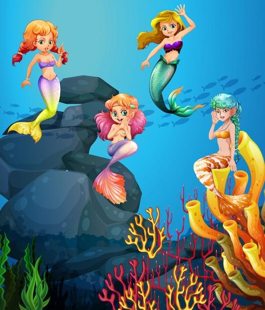 Sirene nuotare sotto l'oceano Vettore gratuito