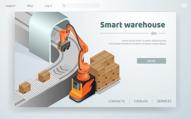 Sistema di automazione smart warehouse flat banner. Vettore Premium