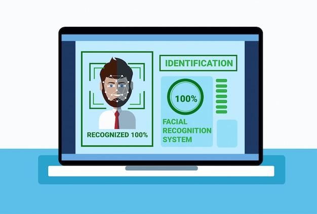 Sistema di biometria del fronte dell'uomo di esame del computer portatile di protezione, concetto facciale di riconoscimento Vettore Premium