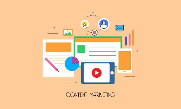 Sistema di marketing dei contenuti di design piatto Vettore Premium