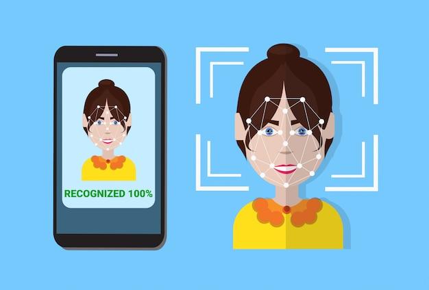 Sistema di scansione biometrico di controllo smart phone di protezione utente faccia, concetto di tecnologia di riconoscimento facciale Vettore Premium