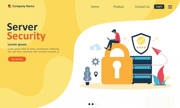 Sistema di sicurezza del server per la pagina di destinazione del web Vettore Premium