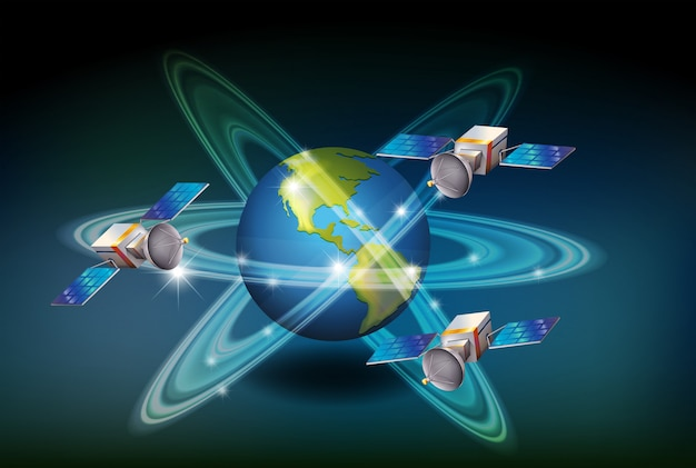 Sistema gps con satelliti intorno alla terra Vettore gratuito