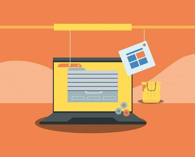 Sito in costruzione con computer desktop Vettore Premium