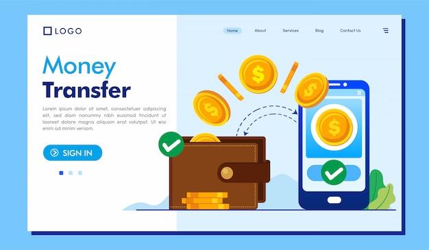 Sito web della pagina di destinazione del trasferimento di denaro Vettore Premium