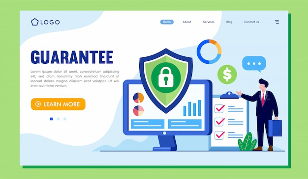Sito web della pagina di destinazione della garanzia Vettore Premium