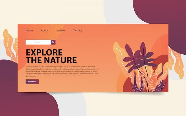 Sito web di atterraggio sulla natura Vettore Premium