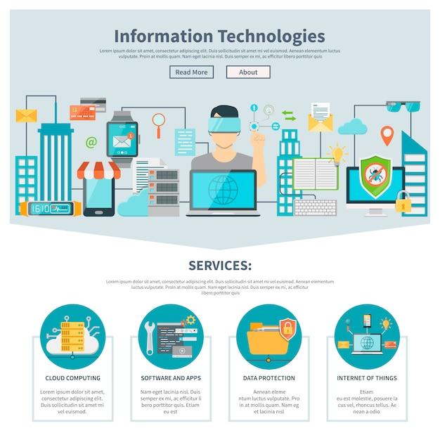 Sito web di una sola pagina delle tecnologie dell'informazione Vettore gratuito